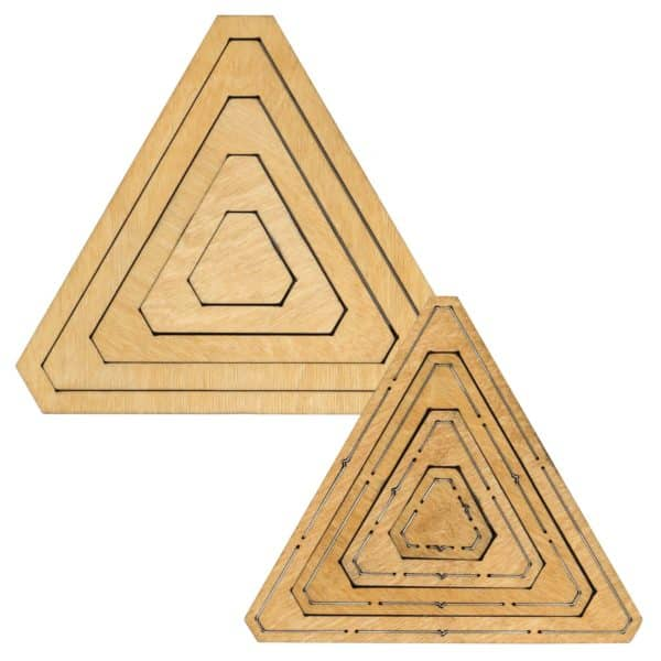 """Bullseye Equilateral Triangles-Odd-1"""", 3"""", 5"""", 7"""" Finished Sides for Studio-0"""
