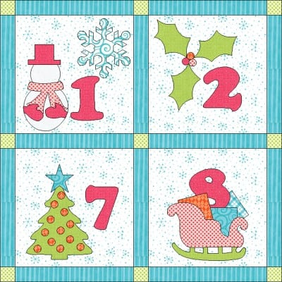 GO! 12 days of Winter Bliss Wall Hanging (closeup)